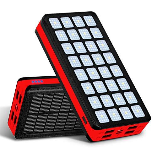 Solar Tragbar Power Bank 50000Mah Tragbares Ladegerät USB C Externer Akku Mit 4 Ausgängen Und Und 32 LED-Leuchten, Fast Ladegerät Für iPhone, Ipad Und Wasserdicht Camping/Wandern Im Freien,Rot