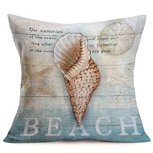 Smilyard Ocean Beach Style Pillow Covers Cotton Linen Vintage Wooden with Sea Snail Decorative Pillowcase