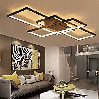 Square Aluminum LED Ceiling Lamp Stepless Dimming for Living Room Bedroom AC85-265V White/Black Ceiling Lamp Fixtures (White)