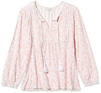 Lucky Brand Women s Long Sleeve V Neck Printed Peasant Top Peach Multi XS