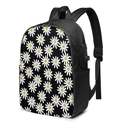 XCNGG Love Daisy Floral Business Laptop School Bookbag Mochila de Viaje con Puerto de Carga USB y Puerto para Auriculares de 17 Pulgadas