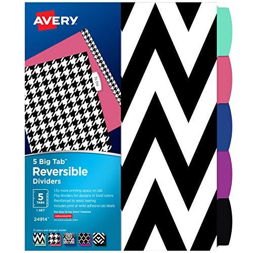 AVERY 5 Tab Reversible Fashion Binder Dividers, Assorted Designs, Big Tabs, 1 Set, 24 Packs (24914)