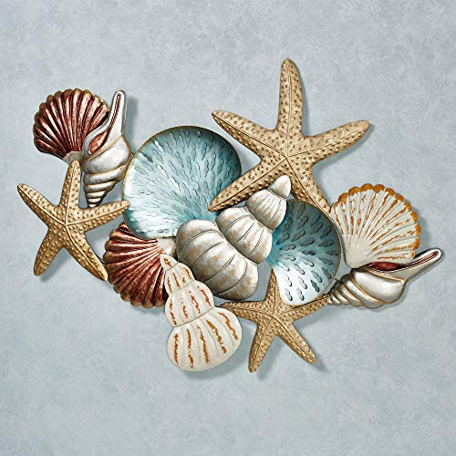 Touch of Class Ocean Collage Wall Art Multi Earth One Size, Hand-Painted - Made of Metal - Handmade, Nautical - Measures approximately 48 inches in Width by 2.5 Inches in Diameter by 34 Inches in Height