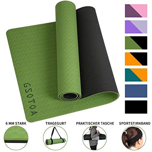 GSOTOA Yogamatte rutschfest, Professionelle TPE Gymnastikmatte für Fitnessstudio, Training und Yoga, 6mm Leichte Hautfreundlicher Yogamatte,180x61x0.6CM, 4er Set