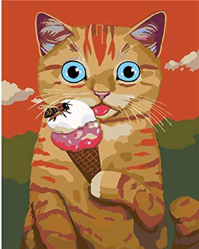 DIY olieverfschilderij kat eten ijs verf op nummer kit voor volwassenen kinderen beginner, DIY Canvas Schilderen door cijfers voor Home Decoratie, 16X20 Inch.40 * 50Cm