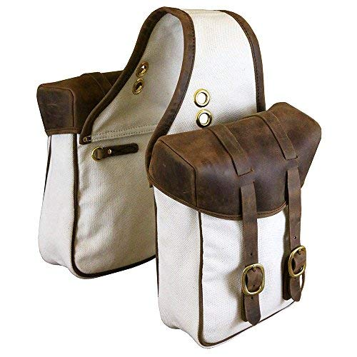 TrailMax Canvas & Leather Horse Saddle-Bags for Trail Riding, Premium Leather & Rugged Canvas with Brass Hardware, Heavy Leather Straps & Leather Piping, fits Western & Endurance saddles