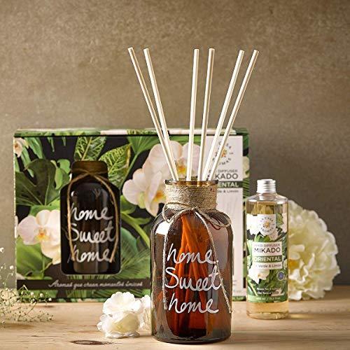 Ambientador Mikado Grande con Botella Decorativa y Varillas para Grandes Espacios, Aroma Oriental - 400 ml…