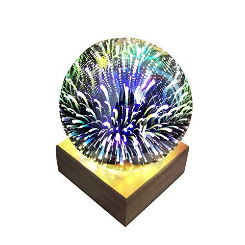 RONGXIANMA Lámpara de Mesa 3D Bola de Cristal Transparente Luz de Noche Luz mágica de Fuegos Artificiales de Colores Lámpara de Mesa con Base de Madera Maciza