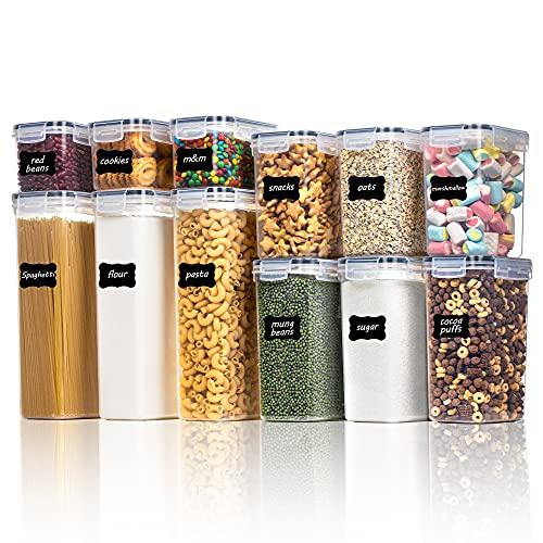 Vtopmart Juego de 12 recipientes herméticos para cocina, con tapa, para almacenar pasta, cereales, harina, azúcar, etc. (negro)