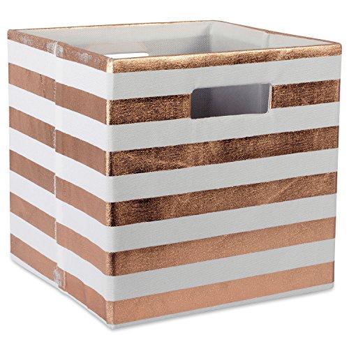 DII Foldable Fabric Storage Container 11 x 11 x 11, Stripe Copper, Small