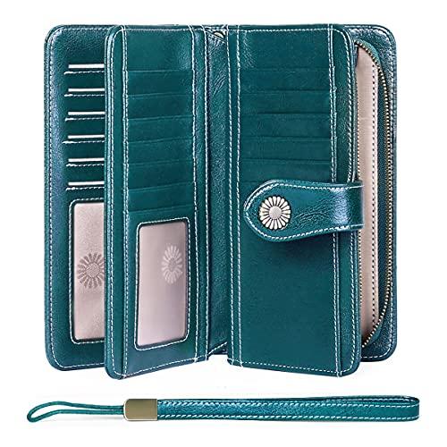FALAN MULE Women's Wallet Genuine Leather RFID Blocking Large Capacity Trifold Ladies Wallet