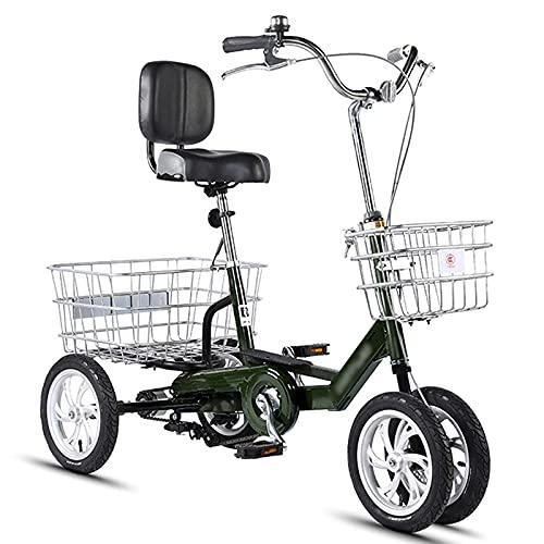 XiYou Triciclo para Adultos, Bicicletas Confortables, 4 Ruedas + Cesta de Respaldo de Asiento, diseño Tradicional para Personas Mayores (14 Pulgadas, Blanco cremoso)