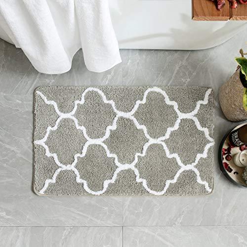 MIULEE Badematte Mikrofaser rutschfest Badteppiche Dekorativ Teppich Marokko Absorbent Badvorleger Badzimmermatte Saugfähig Weich Duschmatte Fußmatte Badezimmer Wohnzimmer Hellgrau 40x60cm