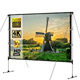 HD Portable Projector Movies Screen Salange Outdoor movie screen Outdoor With Stand Bracket Screen 100 inch 16:9 4K Ultra HD 3D Fast Folding Projection Screen Ideal for Home Theater Outdoor Indoor