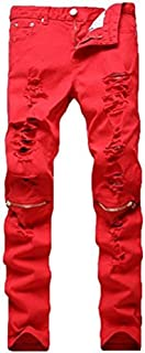 Leward Men`s Ripped Skinny Distressed Destroyed Straight Fit Zipper Jeans with Holes