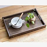 Wooden Trays With Handles Rectangular Shape for Coffee Table and Dining Tables l Wooden Serving Platter l Large Plastic Tray