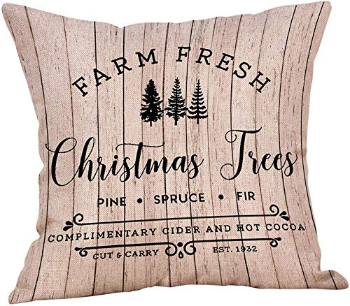 XXLYY Happy Christmas Decoration Pillow Case Cover with Words, Xmas Tree Snowflake Snowman Reindeer Pillowcases Decor, for Sofa Cushion Home Outdoor (D)