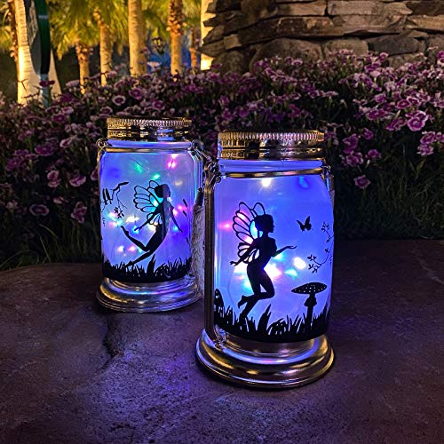 ANGMLN Solar Fairy Lantern Garden Decorations- 2 Pack Outdoor Fairies Night Lights Gifts Hanging Lamp Frosted Glass Jar with Stake for Yard Garden Patio Lawn (Multicolor)
