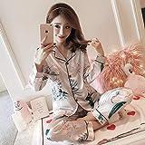 Otoño e Invierno Pijamas de satén para Mujer nuevos Traje de Manga Larga de Seda Pijamas de Mujer Conjunto de Mangas Completas XXL