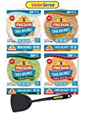 Mission Carb Balance Tortilla Variety Pack - Low Carb Tortillas - Keto Friendly Soft Tacos - Authentic Flavors - Flour, Whole Wheat, Spinach Herb, and Tomato Basil - 12 oz 8 Count, 4 Packs - with ValorServe™ Quesadilla Spatula