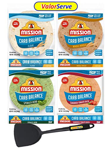 Mission Carb Balance Tortilla Variety Pack by ValorServe™ - Low Carb Tortillas - Keto Friendly Soft Tacos - Authentic Flavors - Flour, Whole Wheat, Spinach Herb, and Tomato Basil - 12 oz 8 Count, 4 Packs - with ValorServe™ Quesadilla Spatula