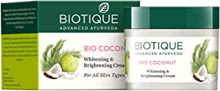 Biotique Botanicals Coconut Whitening and Brightening Cream-50g - (Pack of 3)