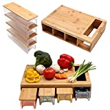 Bamboo Cutting Board with lids /Storage Containers/trays Chopping Board with Drawers Cutting Board with Lid and Trays Multi-functional Cutting Board with Groove/Handle/Food Sliding Opening