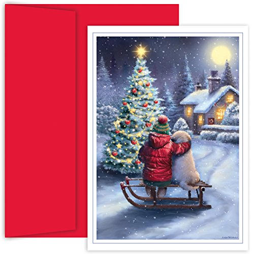 Masterpiece Studios Holiday Collection 18-Count Boxed Christmas Cards with Envelopes, 7.8' x 5.6', Best Friends