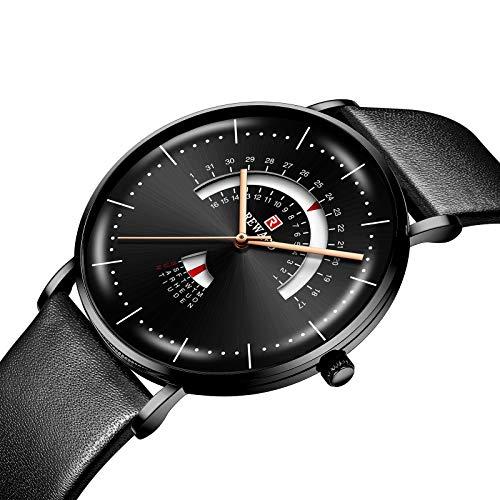 CXJC Personalidad de moda Reloj deportivo para hombres multifuncional, reloj de negocios de ocio, caja de acero inoxidable + correa de cuero, esfera redonda de 43 mm (Color : Negro)