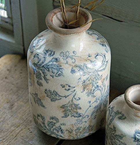 Bluebell Yard Tall Stoke - Jarrón rústico de cerámica azul y blanco