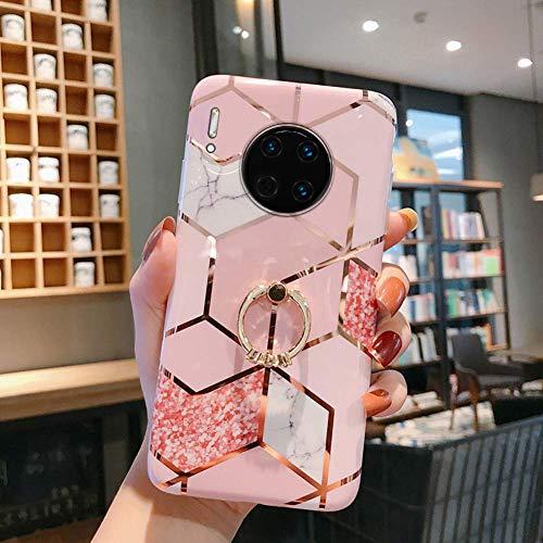 Uposao Compatible con Funda Huawei Mate 30 Purpurina Funda Girly Case 3D Geométrico Mármol Diseño + Anillo Soporte Móvil Diamante Glitter Brillante Carcasa Slim Silicona TPU Gel Suave Bumper,#2