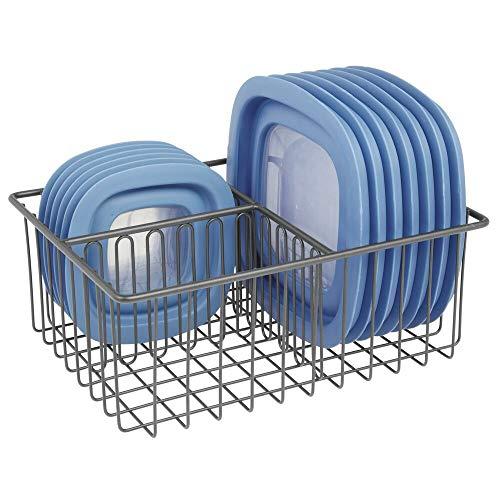 mDesign 2er-Set K/üchen Organizer silberfarben Geschirrhalter aus verchromtem Metall f/ür Schneidebretter Backformen etc Geschirrablage mit 3 F/ächern f/ür mehr Ordnung in der K/üche