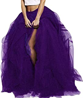 Women Tutu Long Skirt High Waist Layered Tulle Maxi Puffy Skirts Floor Length Wedding Night Out Party Club Clothes