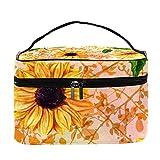 Bolsa de maquillaje con diseño de girasoles amarillos, hojas verdes, bolsa de maquillaje grande, organizador con cremallera, para mujeres y niñas