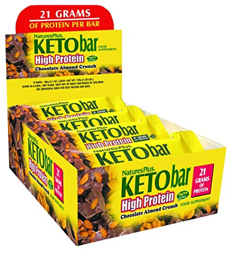 Nature's Plus Keto High Protein Chocolate Almond Crunch Bar (12 Pack) - Whole Food Low Carb Protein Bar, Perfect for Keto and Low Glycemic Lifestyles - Gluten Free