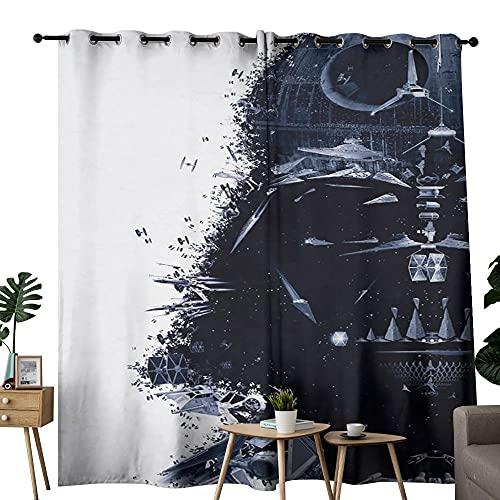 Cortina aislante para dormitorio y apartamentos Star Wars Darth Vader Mask Art aislamiento acústico y aislamiento térmico para sala de estar, un juego de 2 254 x 213 cm