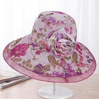 LONLLWK Sombrero para El Sol Mujeres Verano Algodón Sombrero para El Sol De ala Ancha Floral Sombreros Flores Viseras Mujer Elegante Mar Playa Gorras Sombrero Protector Solar