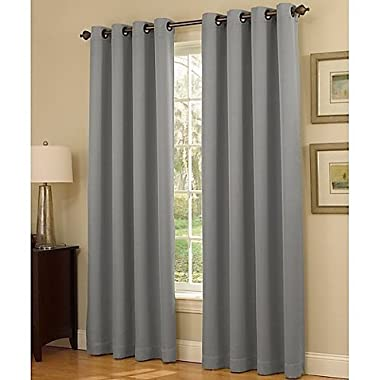 Gorgeous HomeDIFFERENT SOLID COLORS & SIZES (#34) 1 PANEL SOLID THERMAL FOAM LINED BLACKOUT HEAVY THICK WINDOW CURTAIN DRAPES SILVER GROMMETS (SILVER GRAY, 84  LENGTH)