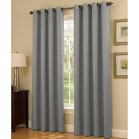 Gorgeous HomeDIFFERENT Solid Colors & Sizes (#34) 1 Panel Solid Thermal Foam Lined Blackout Heavy Thick Window Curtain Drapes Silver Grommets (Silver Gray, 63' Length)