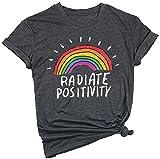 Camiseta de manga corta para mujer, diseño de arcoíris con texto en inglés Gris gris L