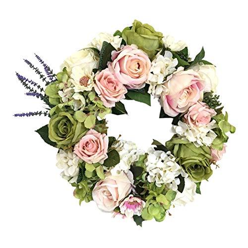 Rose Blumen Kranz Ring künstliche Blumen Girlande Floral Loop für Hochzeit Haustür Treppen Kamin Wand Grab Home Party Decor