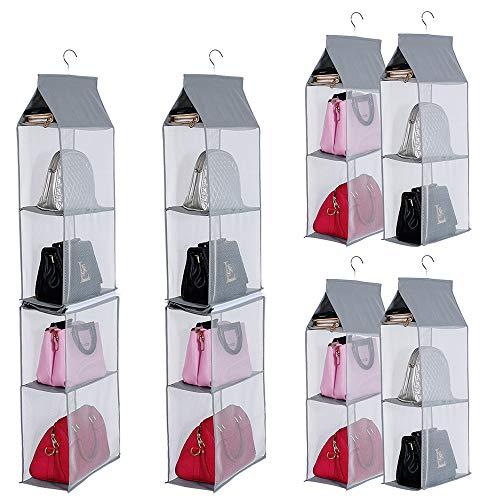 KEEPJOY Detachable Hanging Handbag Purse Organizer for Closet, Purse Bag Storage Holder for Wardrobe Closet with 4 Shelves Space Saving Purse Organizers System (Pack of 2 Grey)