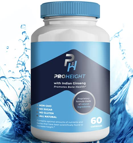 """ProHeight - Powerful Growth Formula - Natural Bone Strength Support - Healthy Growth Supplement - Keto & Vegan with Indian Ginseng """"Ashwaganda"""" & Nanometer Calcium - for Ages 5+ (1 Pack)"""
