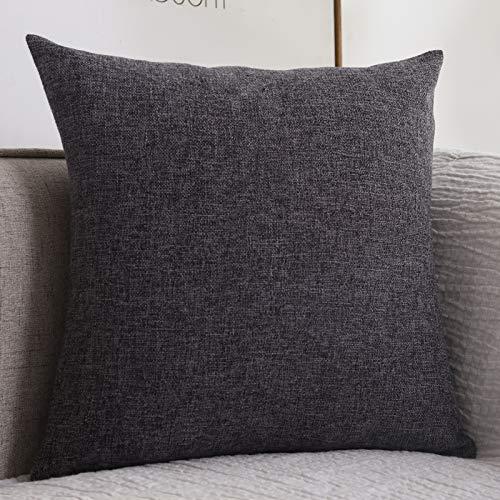 Eenvoudig, met katoen en linnen verdikt vierkant kussen. 30x50cm dark gray