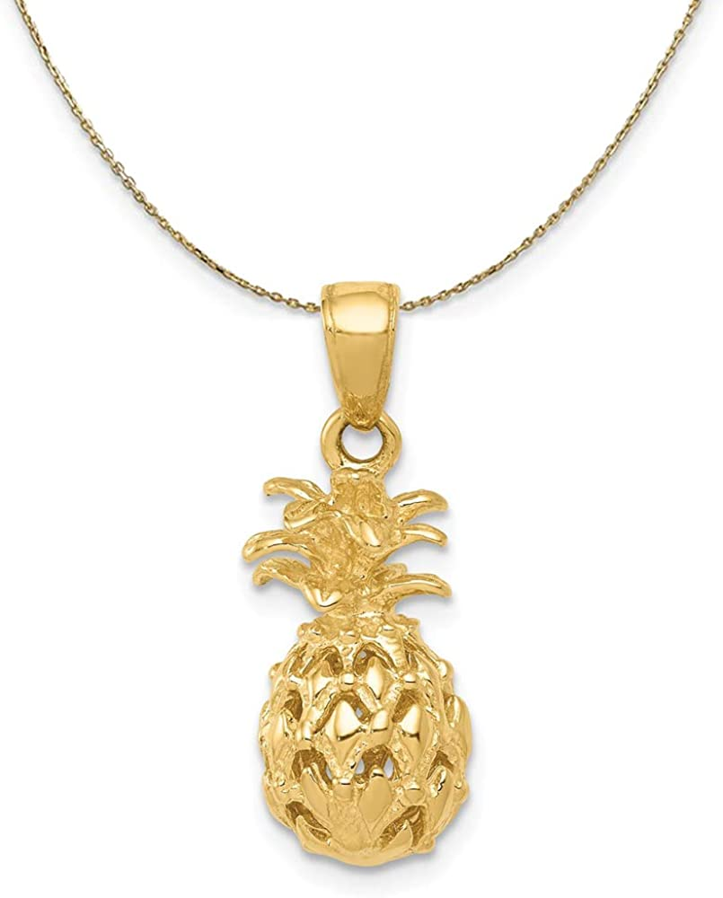 Black Bow Jewelry 14k Yellow Necklace Gold Sm Cutout Pineapple Manufacturer San Jose Mall OFFicial shop