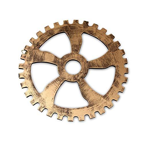 Mousyee Adornos Pared Vintage, Decoraciones para Colgar en la Pared con Forma de Engranaje Estilo Industrial Retro Duradero Estable e Inodoro Adecuado para el Hogar Restaurante y más (32 cm, Dorado)