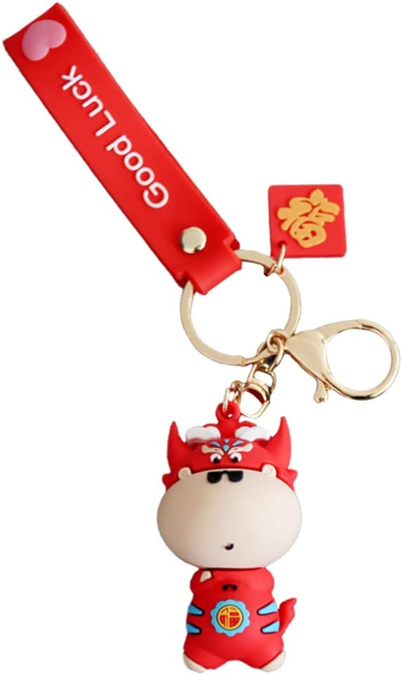 ABOOFAN Good Luck Keychain Red Cow Keychain 2021 Chinese New Year Zodiac Cow OX Keychain Backpack Bag Purse Charms Gift