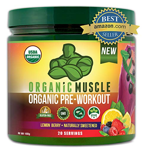 ORGANIC MUSCLE #1 Rated Organic Pre Workout Powder–Natural Vegan Keto Pre-Workout & Organic Energy...