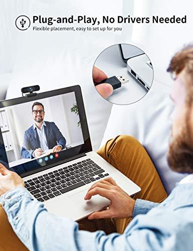 RaLeno Full HD 1080P Webcam mit Dual Mikrofon, 80 ° Weitwinkel Internet Kamera mit Autofokus, Plug & Play, für Zoom, Skype, Win10, Mac OS X, Android