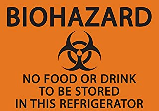 ZING 1916S Eco Safety Sign,  Biohazard No Food or Drink in Refrigerator,  Recycled Polystyrene Self Adhesive,  5H x 7 W,  Black on Orange (Pack of 2)